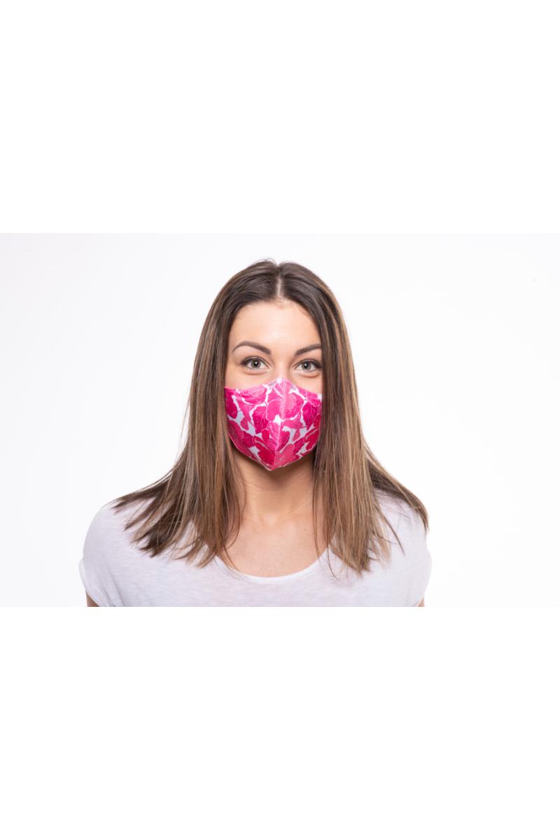 NŐI MASZK pink hibiszkuszok pink/fehér/mályva